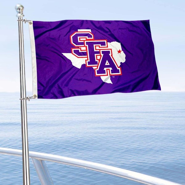 SFA Lumberjacks Boat and Mini Flag is 12x18 inches, polyester, offers quadruple stitched flyends for durability, has two metal grommets, and is double sided. Our mini flags for Stephen F. Austin University are licensed by the university and NCAA and can be used as a boat flag, motorcycle flag, golf cart flag, or ATV flag.