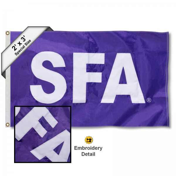 SFA Lumberjacks Small 2'x3' Flag measures 2x3 feet, is made of 100% nylon, offers quadruple stitched flyends, has two brass grommets, and offers embroidered SFA Lumberjacks logos, letters, and insignias. Our 2x3 foot flag is Officially Licensed by the selected university.