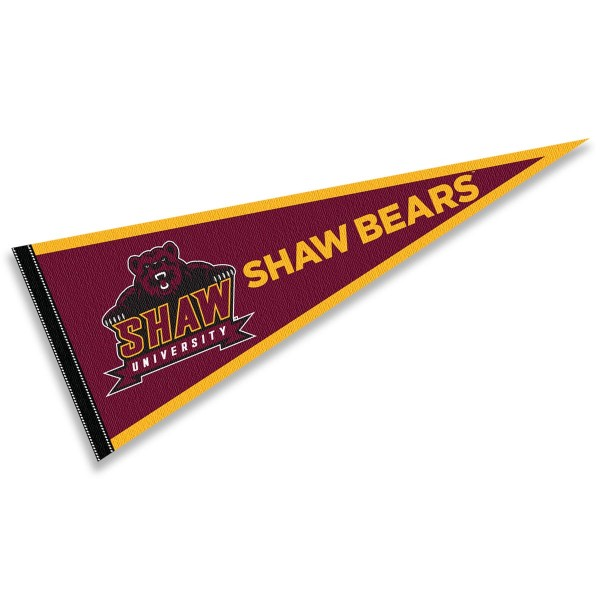 Shaw University Bears Pennant consists of our full size sports pennant which measures 12x30 inches, is constructed of felt, is single sided imprinted, and offers a pennant sleeve for insertion of a pennant stick, if desired. This Shaw University Bears Pennant Decorations is Officially Licensed by the selected university and the NCAA.