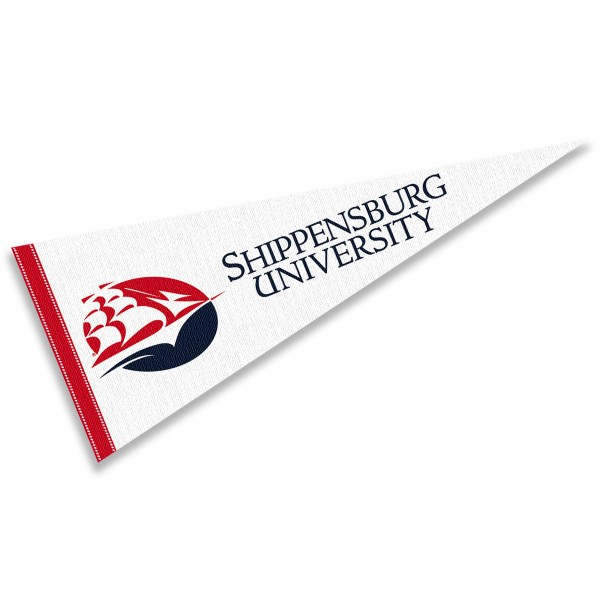 Shippensburg University Pennant measures 12x30 inches, is made of wool, and the School logos are printed with raised lettering. Our Shippensburg University Pennant is Officially Licensed and Approved by the University or Institution.