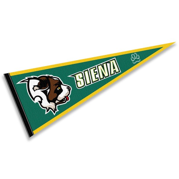 Siena College Saints Pennant consists of our full size sports pennant which measures 12x30 inches, is constructed of felt, is single sided imprinted, and offers a pennant sleeve for insertion of a pennant stick, if desired. This Siena College Saints Pennant Decorations is Officially Licensed by the selected university and the NCAA.