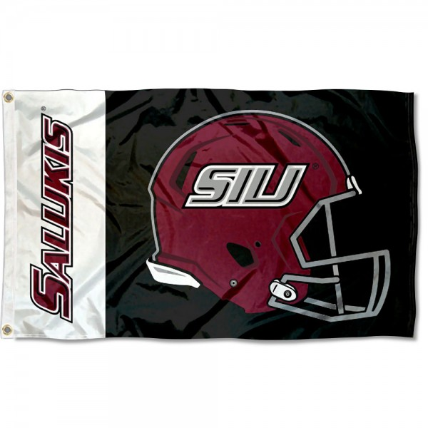 SIU Salukies Football Helmet Flag measures 3x5 feet, is made of 100% polyester, offers quadruple stitched flyends, has two metal grommets, and offers screen printed NCAA team logos and insignias. Our SIU Salukies Football Helmet Flag is officially licensed by the selected university and NCAA.