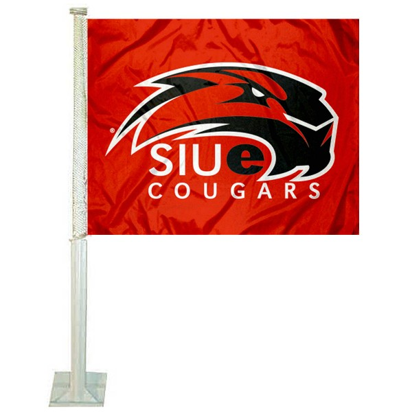 SIUE Cougars Car Window Flag measures 12x15 inches, is constructed of sturdy 2 ply polyester, and has screen printed school logos which are readable and viewable correctly on both sides. SIUE Cougars Car Window Flag is officially licensed by the NCAA and selected university.