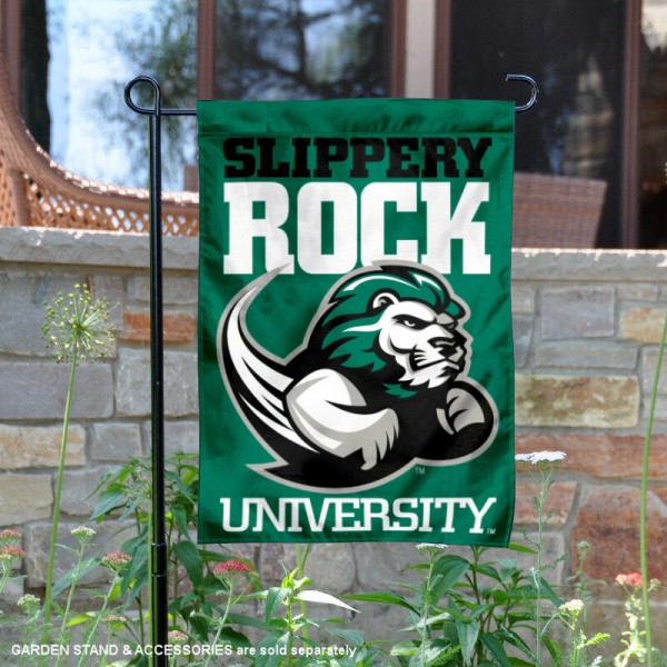 Slippery Rock Double Sided Garden Flag is 13x18 inches in size, is made of 2-layer polyester, screen printed university athletic logos and lettering, and is readable and viewable correctly on both sides. Available same day shipping, our Slippery Rock Double Sided Garden Flag is officially licensed and approved by the university and the NCAA.