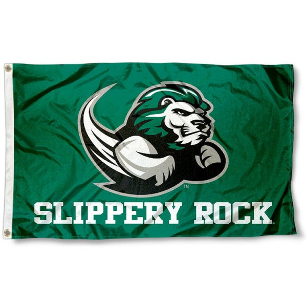 Slippery Rock New Logo Flag measures 3x5 feet, is made of 100% polyester, offers quadruple stitched flyends, has two metal grommets, and offers screen printed NCAA team logos and insignias. Our Slippery Rock New Logo Flag is officially licensed by the selected university and NCAA.