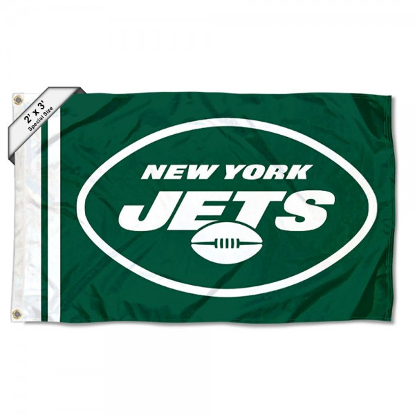 This Small New York Jets 2x3 Foot Flag measures 2x3 feet, is polyester made, has quadruple stitched fly ends, two metal grommets, and screen printed New York Jets logos and insignias. Our Small New York Jets 2x3 Foot Flag is NFL Officially Licensed.