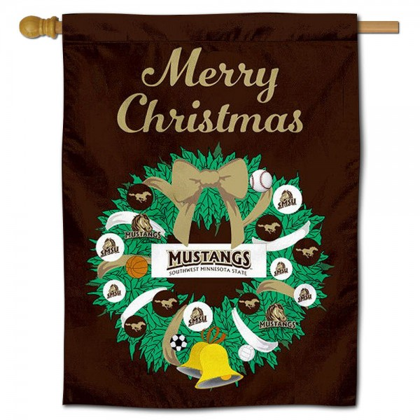 SMSU Mustangs Happy Holidays Banner Flag measures 30x40 inches, is made of poly, has a top hanging sleeve, and offers dye sublimated SMSU Mustangs logos. This Decorative SMSU Mustangs Happy Holidays Banner Flag is officially licensed by the NCAA.