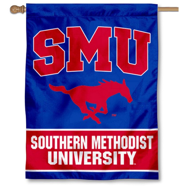 SMU House Flag is a vertical house flag which measures 30x40 inches, is made of 2 ply 100% polyester, offers dye sublimated NCAA team insignias, and has a top pole sleeve to hang vertically. Our Southern Methodist University House Flag is officially licensed by the selected university and the NCAA