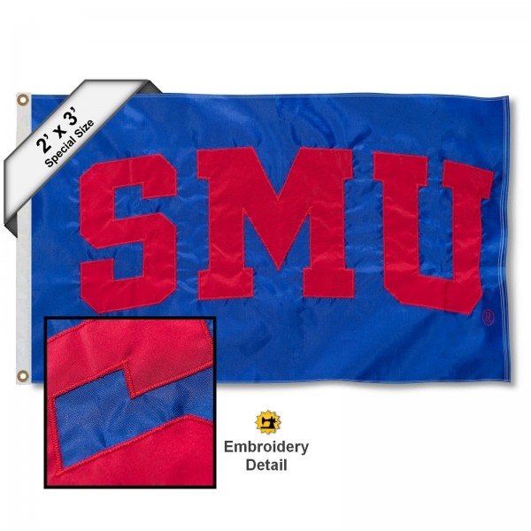 SMU Small 2'x3' Flag measures 2x3 feet, is made of 100% nylon, offers quadruple stitched flyends, has two brass grommets, and offers embroidered SMU logos, letters, and insignias. Our SMU Small 2'x3' Flag is Officially Licensed by the selected university.