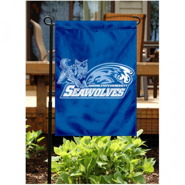 Sonoma State University Garden Flag is 13x18 inches in size, is made of 2-layer polyester, screen printed Sonoma State University athletic logos and lettering. Available with Same Day Express Shipping, Our Sonoma State University Garden Flag is officially licensed and approved by Sonoma State University and the NCAA.