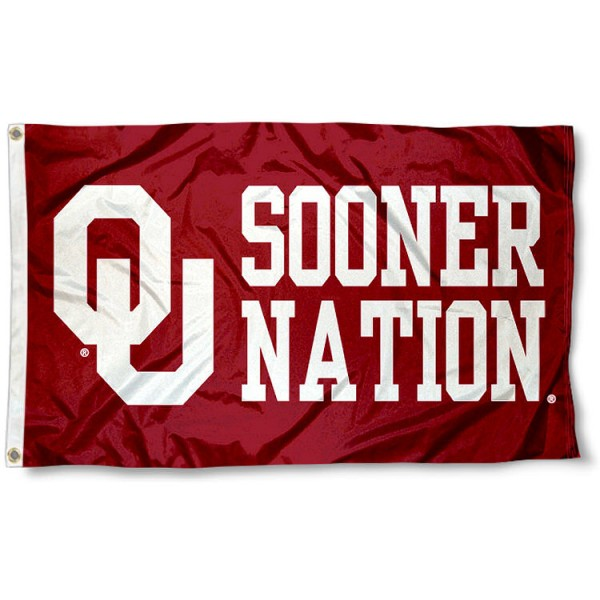 Sooner Nation Flag measures 3'x5', is made of 100% poly, has quadruple stitched sewing, two metal grommets, and has double sided OU Sooner Nation logos. Our Sooner Nation Flag is officially licensed by the selected university and the NCAA