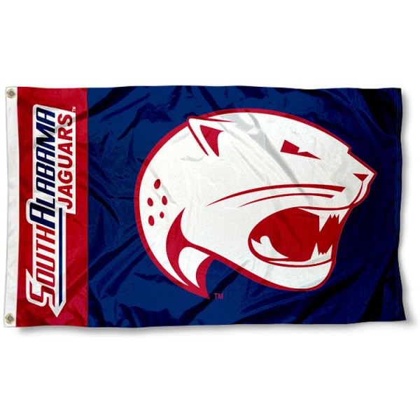South Alabama Jaguars 3x5 Flag measures 3'x5', is made of 100% poly, has quadruple stitched sewing, two metal grommets, and has double sided Team University logos. Our South Alabama Jaguars 3x5 Flag is officially licensed by the selected university and the NCAA.