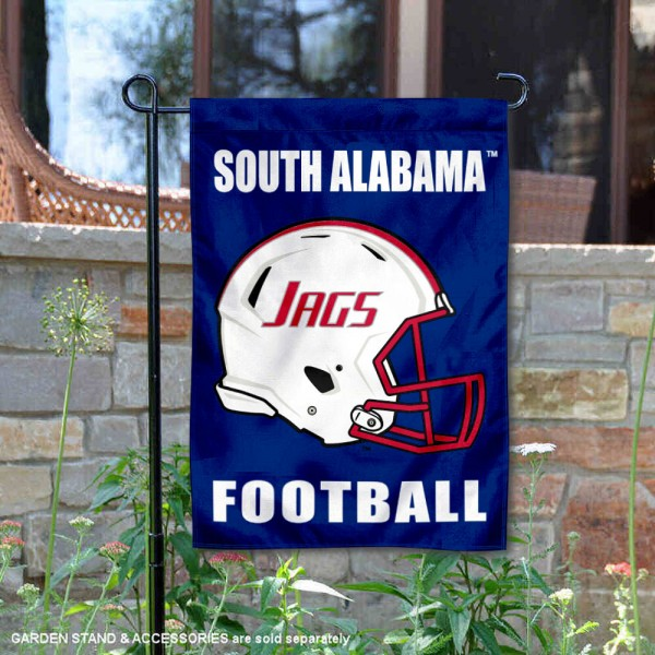 South Alabama Jaguars Helmet Yard Garden Flag is 13x18 inches in size, is made of 2-layer polyester with Liner, screen printed university athletic logos and lettering, and is readable and viewable correctly on both sides. Available same day shipping, our South Alabama Jaguars Helmet Yard Garden Flag is officially licensed and approved by the university and the NCAA.