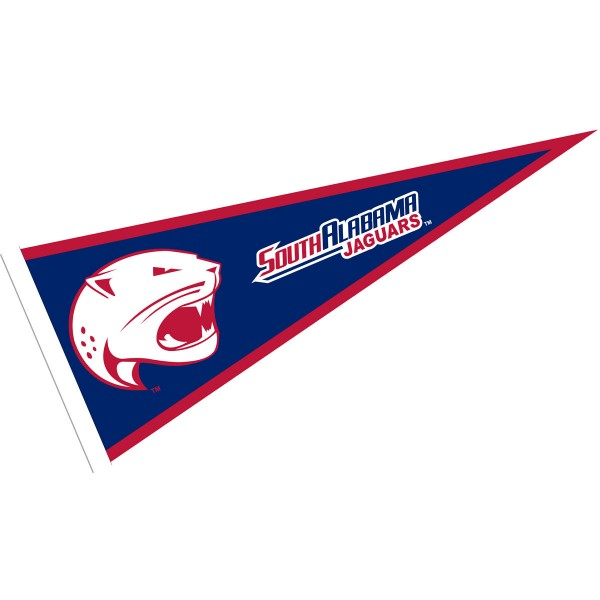 South Alabama Jaguars Pennant consists of our full size sports pennant which measures 12x30 inches, is constructed of felt, is single sided imprinted, and offers a pennant sleeve for insertion of a pennant stick, if desired. This South Alabama Jaguars Pennant Decorations is Officially Licensed by the selected university and the NCAA.