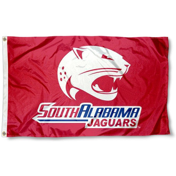 South Alabama Jaguars Red Outdoor Flag measures 3'x5', is made of 100% poly, has quadruple stitched sewing, two metal grommets, and has double sided USA Jaguars logos. Our USA Jaguars Logo Outdoor Flag is officially licensed by the selected university and the NCAA.