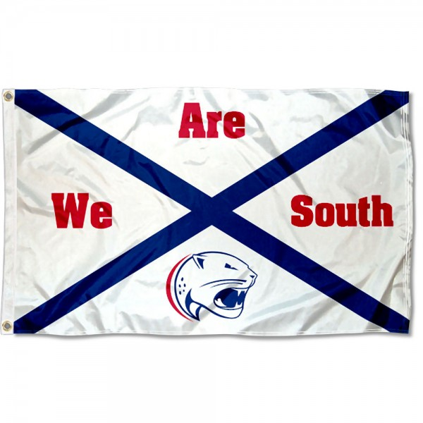 South Alabama Jaguars State Flag measures 3x5 feet, is made of 100% polyester, offers quadruple stitched flyends, has two metal grommets, and offers screen printed NCAA team logos and insignias. Our South Alabama Jaguars State Flag is officially licensed by the selected university and NCAA.