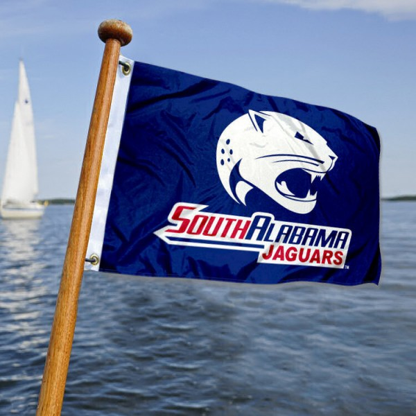 South Alabama Jaguars Yacht Flag measures 12x18 inches, is made of two-ply polyesters, offers quadruple stitched flyends for durability, has two metal grommets, and is viewable from both sides. Our South Alabama Jaguars Yacht Flag is officially licensed by the selected university and the NCAA and can be used as a motorcycle flag, golf cart flag, or ATV flag.