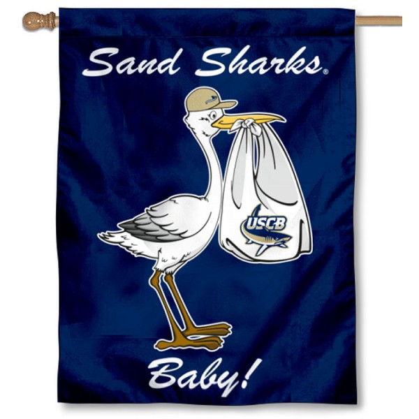 South Carolina Beaufort Sand Sharks New Baby Flag measures 30x40 inches, is made of poly, has a top hanging sleeve, and offers dye sublimated South Carolina Beaufort Sand Sharks logos. This Decorative South Carolina Beaufort Sand Sharks New Baby House Flag is officially licensed by the NCAA.