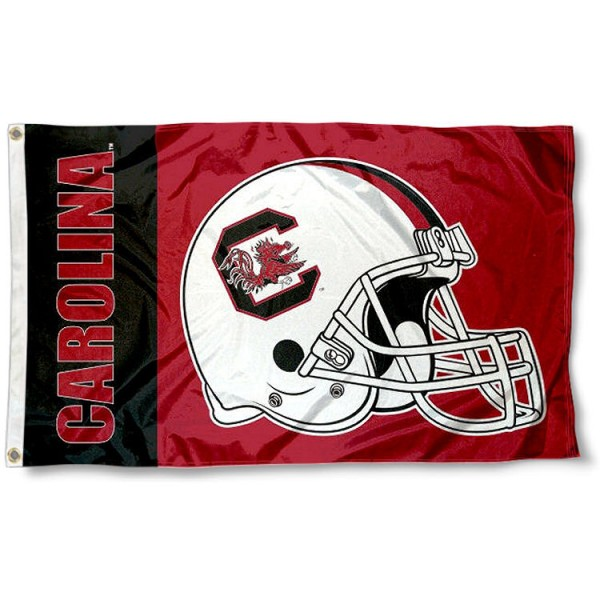 South Carolina Football Flag measures 3'x5', is made of 100% poly, has quadruple stitched sewing, two metal grommets, and has double sided South Carolina logos. Our South Carolina Football Flag is officially licensed by the selected university and the NCAA.