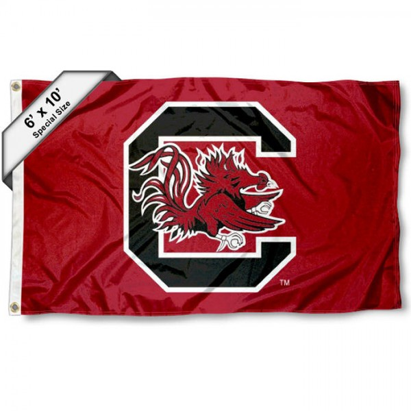 South Carolina Gamecocks 6'x10' Flag measures 6x10 feet, is made of thick poly, has quadruple-stitched fly ends, and South Carolina Gamecocks logos are screen printed into the South Carolina Gamecocks 6'x10' Flag. This South Carolina Gamecocks 6'x10' Flag is officially licensed by and the NCAA.