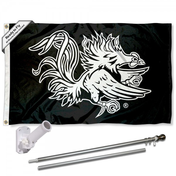 Our South Carolina Gamecocks Black Flag Pole and Bracket Kit includes the flag as shown and the recommended flagpole and flag bracket. The flag is made of polyester, has quad-stitched flyends, and the NCAA Licensed team logos are double sided screen printed. The flagpole and bracket are made of rust proof aluminum and includes all hardware so this kit is ready to install and fly.
