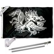 South Carolina Gamecocks Black Flag Pole and Bracket Kit