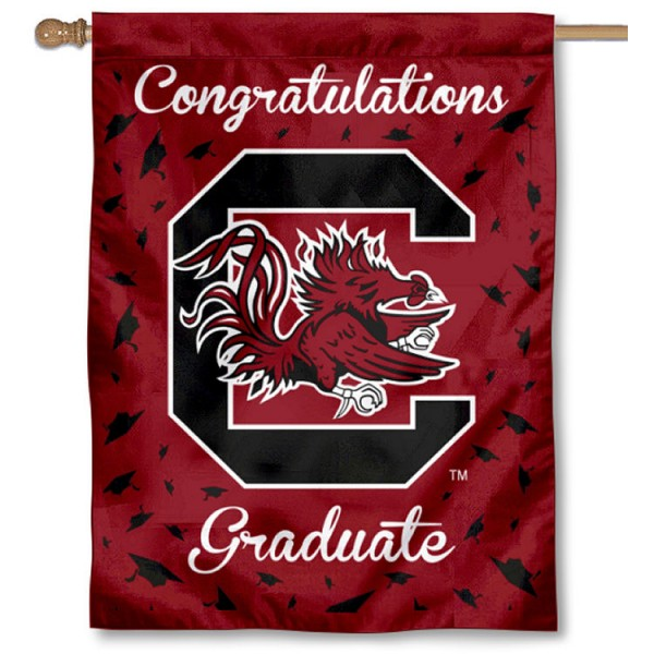 South Carolina Gamecocks Congratulations Graduate Flag measures 30x40 inches, is made of poly, has a top hanging sleeve, and offers dye sublimated South Carolina Gamecocks logos. This Decorative South Carolina Gamecocks Congratulations Graduate House Flag is officially licensed by the NCAA.