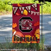 South Carolina Gamecocks Fall Football Autumn Leaves Decorative Garden Flag