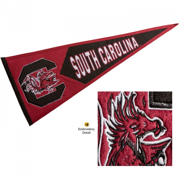 South Carolina Gamecocks Genuine Wool Pennant consists of our full size 13x32 inch Winning Streak Sports wool college pennant. The logos, lettering and insignia is quality embroidered and appliqued, feature a alternate logo color header, and has sewn wool perimeter. This South Carolina Gamecocks College Pennant Pennant is Officially Licensed and University Approved with Overnight Next Day Shipping.