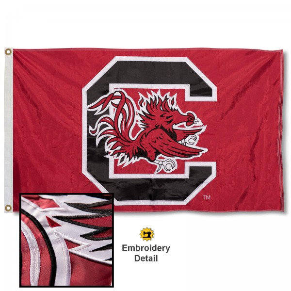 South Carolina Gamecocks Nylon Embroidered Flag measures 3'x5', is made of 100% nylon, has quadruple flyends, two metal grommets, and has double sided appliqued and embroidered University logos. These South Carolina Gamecocks 3x5 Flags are officially licensed by the selected university and the NCAA.