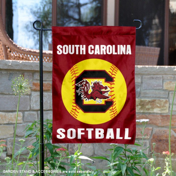 South Carolina Gamecocks Softball Garden Flag and Yard Banner is 13x18 inches in size, is made of 2-layer double sided with liner polyester, screen printed South Carolina Gamecocks athletic logos and lettering. Available with Same Day Express Shipping, Our South Carolina Gamecocks Softball Garden Flag and Yard Banner is officially licensed and approved by South Carolina Gamecocks and the NCAA.