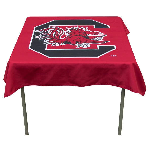 South Carolina Gamecocks Table Cloth measures 48 x 48 inches, is made of 100% Polyester, seamless one-piece construction, and is perfect for any tailgating table, card table, or wedding table overlay. Each includes Officially Licensed Logos and Insignias.