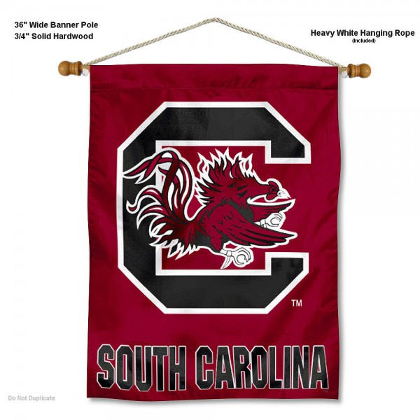 """South Carolina Gamecocks Wall Banner is constructed of polyester material, measures a large 30""""x40"""", offers screen printed athletic logos, and includes a sturdy 3/4"""" diameter and 36"""" wide banner pole and hanging cord. Our South Carolina Gamecocks Wall Banner is Officially Licensed by the selected college and NCAA."""
