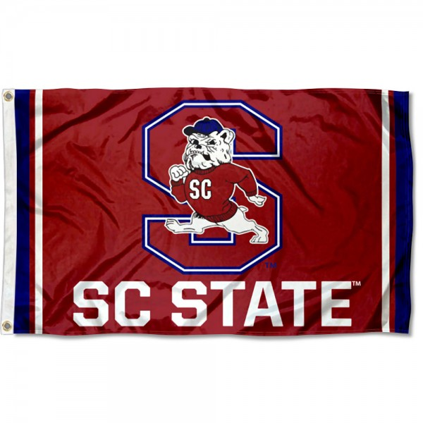 South Carolina State Bulldogs Logo Flag is made of 100% nylon, offers quad stitched flyends, measures 3x5 feet, has two metal grommets, and is viewable from both side with the opposite side being a reverse image. Our South Carolina State Bulldogs Logo Flag is officially licensed by the selected college and NCAA
