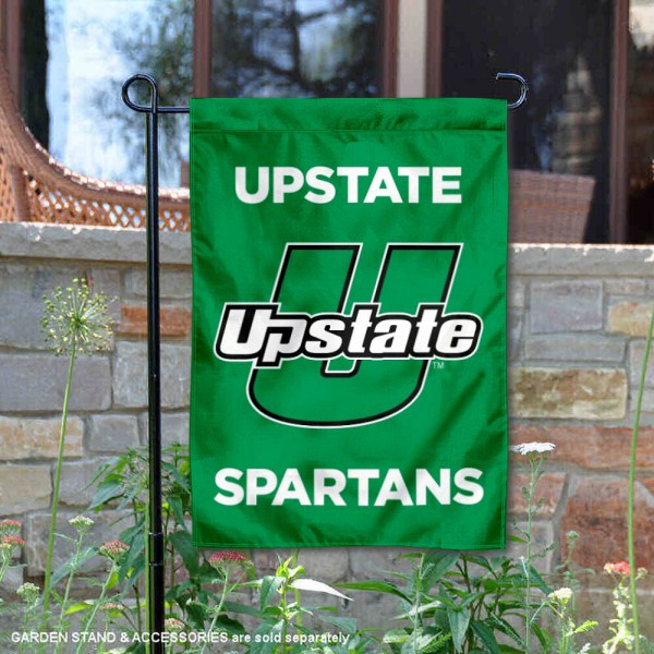 South Carolina Upstate Spartans Double Sided Garden Flag is 13x18 inches in size, is made of 2-layer polyester, screen printed university athletic logos and lettering, and is readable and viewable correctly on both sides. Available with same day shipping, our South Carolina Upstate Spartans Double Sided Garden Flag is officially licensed and team approved by the university and the NCAA.