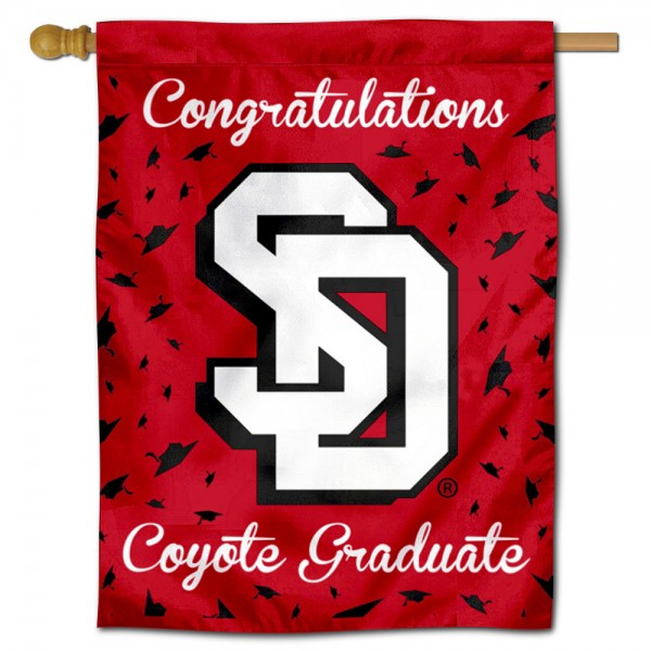 South Dakota Coyotes Congratulations Graduate Flag measures 30x40 inches, is made of poly, has a top hanging sleeve, and offers dye sublimated South Dakota Coyotes logos. This Decorative South Dakota Coyotes Congratulations Graduate House Flag is officially licensed by the NCAA.