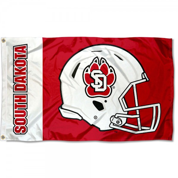 South Dakota Coyotes Football Helmet Flag measures 3x5 feet, is made of 100% polyester, offers quadruple stitched flyends, has two metal grommets, and offers screen printed NCAA team logos and insignias. Our South Dakota Coyotes Football Helmet Flag is officially licensed by the selected university and NCAA.