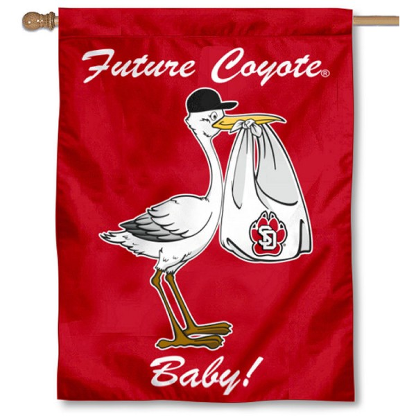 South Dakota Coyotes New Baby Flag measures 30x40 inches, is made of poly, has a top hanging sleeve, and offers dye sublimated South Dakota Coyotes logos. This Decorative South Dakota Coyotes New Baby House Flag is officially licensed by the NCAA.