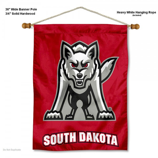 "South Dakota Coyotes Wall Banner is constructed of polyester material, measures a large 30""x40"", offers screen printed athletic logos, and includes a sturdy 3/4"" diameter and 36"" wide banner pole and hanging cord. Our South Dakota Coyotes Wall Banner is Officially Licensed by the selected college and NCAA."