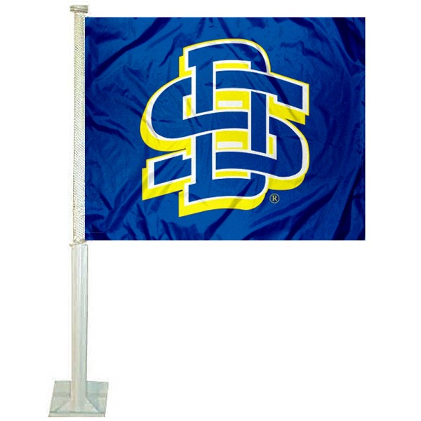 South Dakota State Car Window Flag measures 12x15 inches, is constructed of sturdy 2 ply polyester, and has dye sublimated school logos which are readable and viewable correctly on both sides. South Dakota State Car Window Flag is officially licensed by the NCAA and selected university.