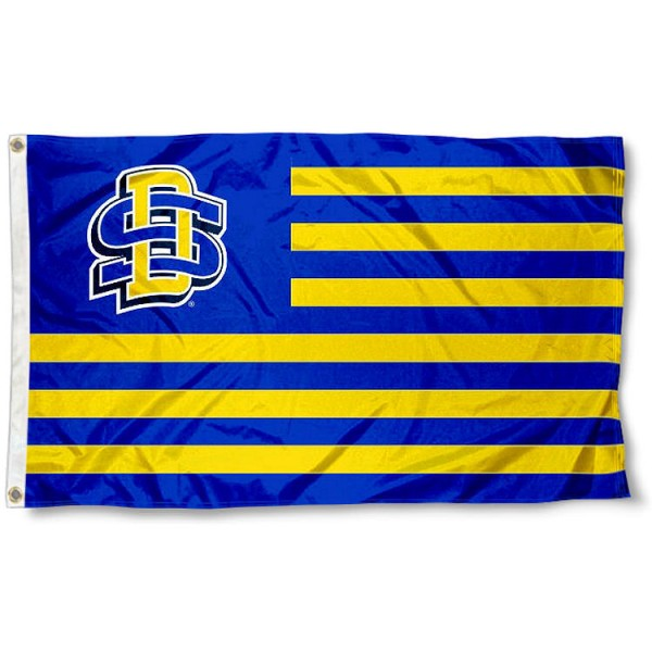 South Dakota State Jackrabbits Stripes Flag measures 3'x5', is made of polyester, offers double stitched flyends for durability, has two metal grommets, and is viewable from both sides with a reverse image on the opposite side. Our South Dakota State Jackrabbits Stripes Flag is officially licensed by the selected school university and the NCAA.