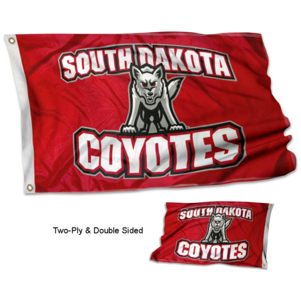 South Dakota USD Coyotes Double Sided 3x5 Flag measures 3'x5', is made of 2 layer 100% polyester, has quadruple stitched flyends for durability, and is readable correctly on both sides. Our South Dakota USD Coyotes Double Sided 3x5 Flag is officially licensed by the university, school, and the NCAA.