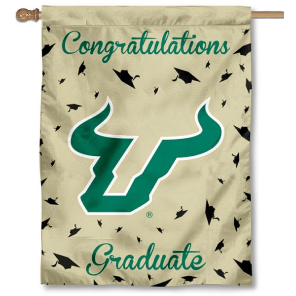 South Florida Bulls Congratulations Graduate Flag measures 30x40 inches, is made of poly, has a top hanging sleeve, and offers dye sublimated South Florida Bulls logos. This Decorative South Florida Bulls Congratulations Graduate House Flag is officially licensed by the NCAA.