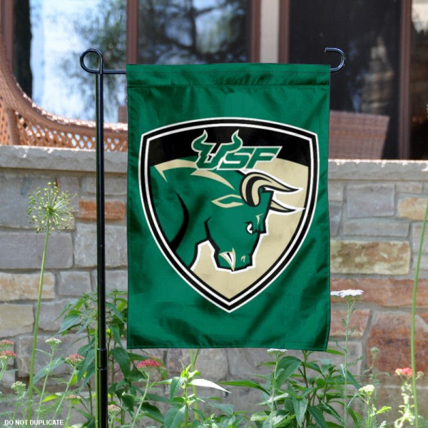 South Florida Bulls Garden Flag is 13x18 inches in size, is made of 2-layer polyester, screen printed University of South Florida athletic logos and lettering. Available with Same Day Express Shipping, Our South Florida Bulls Garden Flag is officially licensed and approved by University of South Florida and the NCAA.