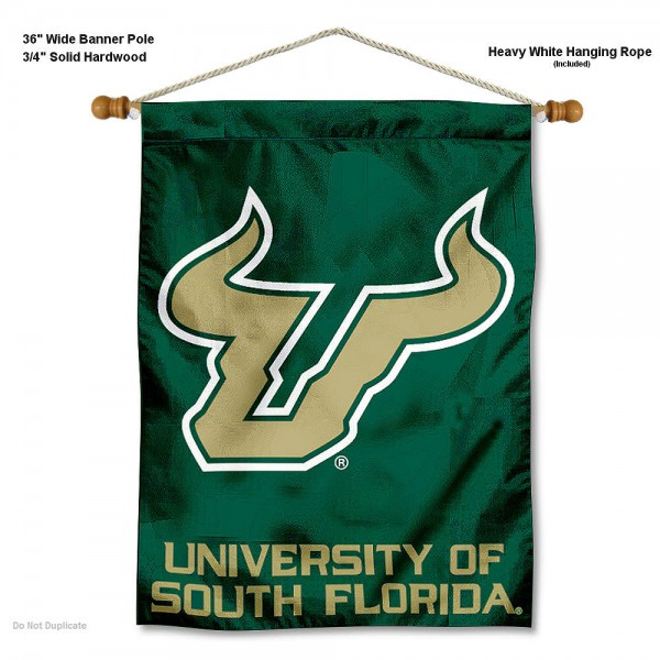 "South Florida Bulls Wall Banner is constructed of polyester material, measures a large 30""x40"", offers screen printed athletic logos, and includes a sturdy 3/4"" diameter and 36"" wide banner pole and hanging cord. Our South Florida Bulls Wall Banner is Officially Licensed by the selected college and NCAA."