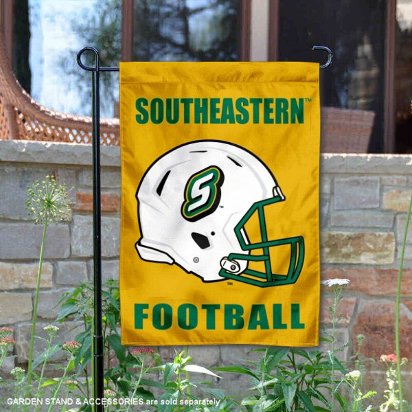 Southeastern Louisiana Lions Helmet Yard Garden Flag is 13x18 inches in size, is made of 2-layer polyester with Liner, screen printed university athletic logos and lettering, and is readable and viewable correctly on both sides. Available same day shipping, our Southeastern Louisiana Lions Helmet Yard Garden Flag is officially licensed and approved by the university and the NCAA.