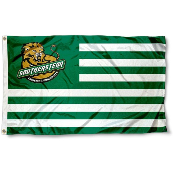 Southeastern Louisiana Lions Stripes Flag measures 3'x5', is made of polyester, offers double stitched flyends for durability, has two metal grommets, and is viewable from both sides with a reverse image on the opposite side. Our Southeastern Louisiana Lions Stripes Flag is officially licensed by the selected school university and the NCAA.