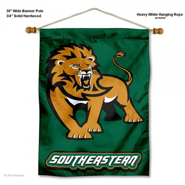 "Southeastern Louisiana Lions Wall Banner is constructed of polyester material, measures a large 30""x40"", offers screen printed athletic logos, and includes a sturdy 3/4"" diameter and 36"" wide banner pole and hanging cord. Our Southeastern Louisiana Lions Wall Banner is Officially Licensed by the selected college and NCAA."