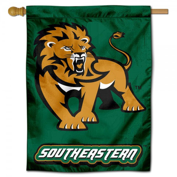 """Southeastern Louisiana University House Flag is constructed of polyester material, is a vertical house flag, measures 30""""x40"""", offers screen printed athletic insignias, and has a top pole sleeve to hang vertically. Our Southeastern Louisiana University House Flag is Officially Licensed by SELU Lions and NCAA."""