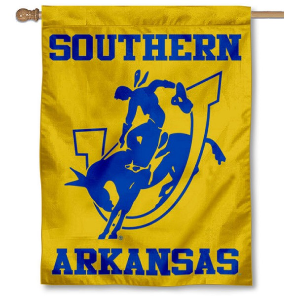 Southern Arkansas Muleriders House Flag is a vertical house flag which measures 30x40 inches, is made of 2 ply 100% polyester, offers screen printed NCAA team insignias, and has a top pole sleeve to hang vertically. Our Southern Arkansas Muleriders House Flag is officially licensed by the selected university and the NCAA.